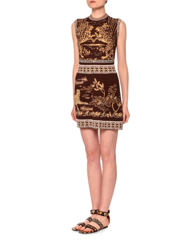 valentino-jaguar-print-sheath-dress